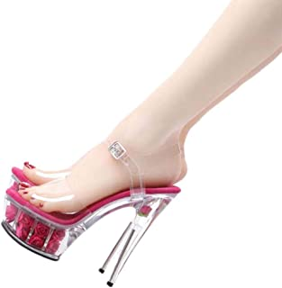 Ladies OpenToe Platform Sandals,Summer Transparent Rose Sandals,15Cm Crystal Super High Heel Sandals,Buckle Stilettos,Burst,46 EU