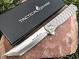 Tc4 Titanium Pocket Knife! TG Saint Tanto, Solid Tc4 Titanium Handle! Ball Bearing Pivot System, Razor Sharp CPM-D2 Steel Blade, Tanto! Includes Sheath!