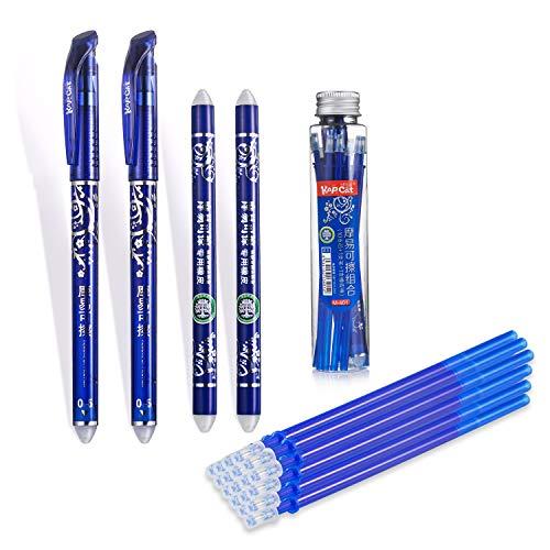 Radierbarer Kugelschreiber set Zum Radieren,Wegradierbar Ersatzmine löschbare Pens Wegradieren 2 Stift Radierbar 0.5mm Gel Ink Pens+20 Minen+ 2 Radiergummi Sticks für Studenten Schule Büromaterial