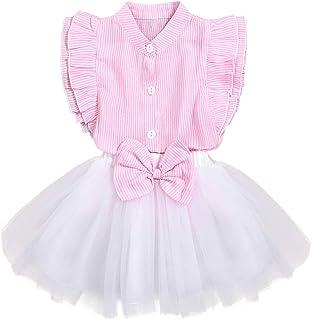 itkidboy Mini Vestido de Verano para niñas pequeñas, con diseño Floral, B-Pink-White, 5T / 6T