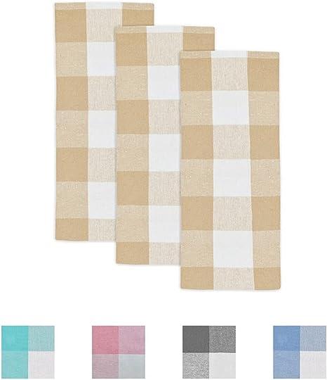 Amazon Com Checkered Dish Towels Buffalo Plaid Dish Towels Plaid Kitchen Towels Cotton Buffalo Check Dish Towels Beige Dish Towels Plaid Buffalo Plaid Tea Towel Set Of 3