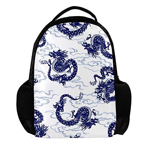 TIZORAX Rucksack, japanischer Drache, Schulrucksack, College, Büchertasche, Reisetasche, Laptop-Tasche, Tagesrucksack, für Männer und Frauen
