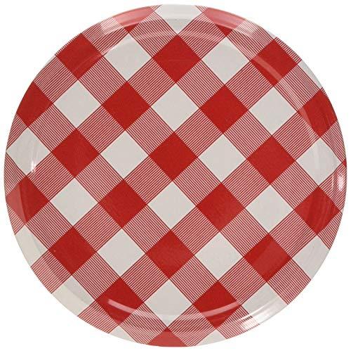 Lot de 10 couvercles de rechange avec fermeture Twist-Off pour verres à conserve - motif à carreaux rouges, 82 mm, 1