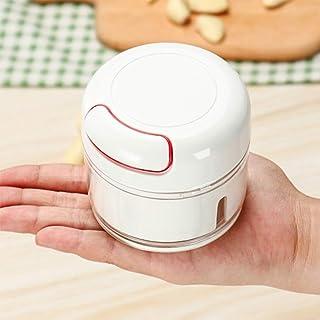 Contiup Picadora manual de ajo Mini picadora y trituradora manual de alimentos Trituradora de ajo Picadora de jengibre Cortador de mano fácil Cortador Verduras, frutas, nueces. 170ml, color blanco