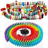 GZYM Dominó de Madera Set Juguetes Juegos 200 PCS Cartas Número Bloques de construcción del azulejo educativos para niños