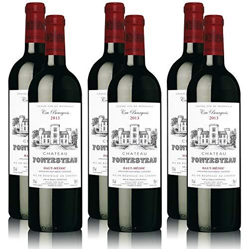 Prämierter Rotwein Château Fontesteau 2013 Cru Bourgeois Supérieur Haut-Médoc AC, sortenreines Weinpaket (6 x 0,75 l)