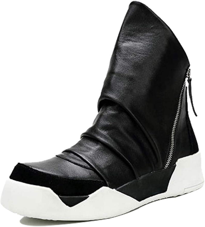 Män skor Winter Loafers Round Head Toe Work stövlar stövlar stövlar Single skor Casual Suits Lazy Side Zipper skor Vattensäkra läderskor  grossistpris och pålitlig kvalitet