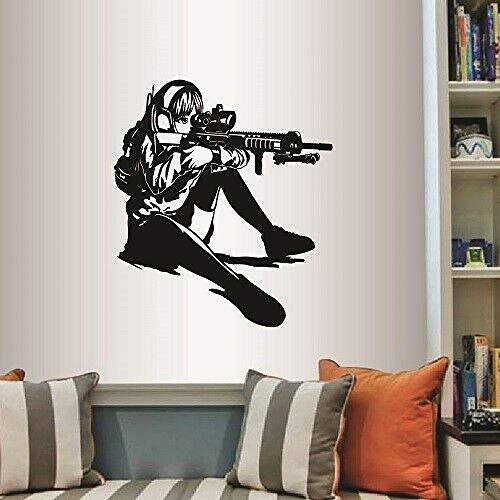 BFLOF Wandaufkleber Vinyl Wandtattoo Anime Manga Girl Aiming Sniper Gun Jeder Raum Aufkleber Dekoration