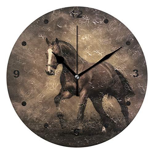 SUNOP Uhr für Kinder, mit Öldruck Bedruckt, Pferde-Schatten-Wanduhren für Wohnzimmer, Schlafzimmer und Küche, Vintage Schreibtisch und Regal Uhren