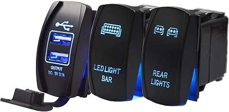 Dasen Blue Rocker Switchs 3PCS Rear & LED Light bar & Universal Dual USB Power Charger For UTV Polaris RZR Boat Yamaha Viking Can-AM Maverick,etc.