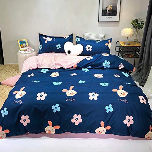 CYGJ CYGJThree-piece or four-piece set of soft and comfortable cotton bedding Blue-pig 2.0m four-piece set