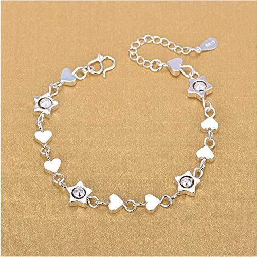 DGFGCS Ladies silver bracelet 925 Silver Bracelets For Girl Party Jewelry Latest Star Heart Design Women Silve Anklets Accessories Bride Bijou