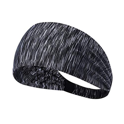 Dames Sport Yoga Haarband Anti-transpirant Tulband Sneldrogend Zweetband Haarband Running Fitness Hoofdband (gestreept grijs)