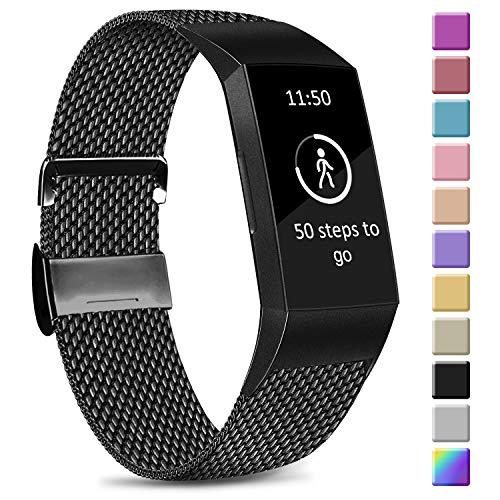 Amzpas Kompatible Für Fitbit Charge 3 Armband/Fitbit Charge 4 Armband, Metall Edelstahl Ersatzarmband Kompatibel mit Fitbit Charge 3/ Charge 4 (L, 03 Schwarz)