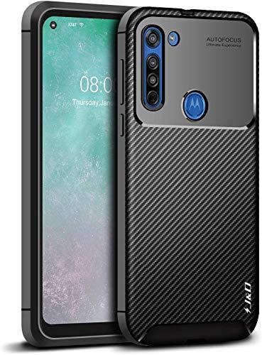 Capa Capinha Anti Impacto Para Motorola Moto G8 Case Com Desenho Fibra De Carbono Shock Queda - Danet (Preto)