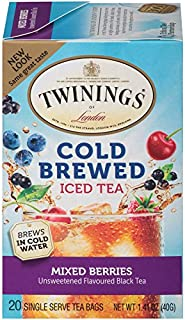 Twinings of London Mixed Berries Cold Brewed Iced Tea Bags, 20 Count (Pack of 6)