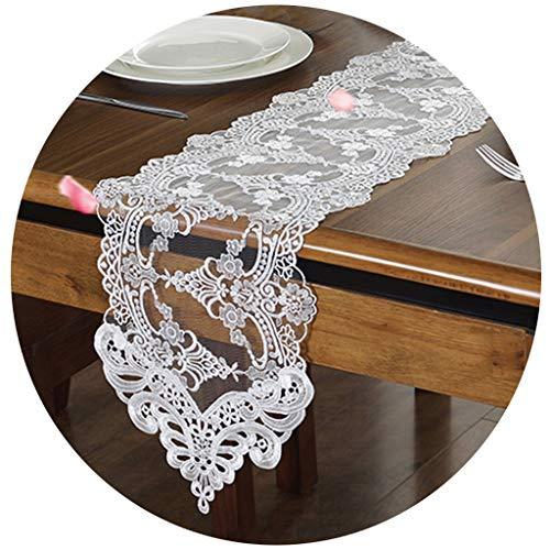 BWZF Tafelloper, eenvoudige Europese kant, stof, tafelloper, tafelkleed, tv-kast, geborduurde mat, tafelkleed, bedloper, 26 cm breed 26×180cm wit