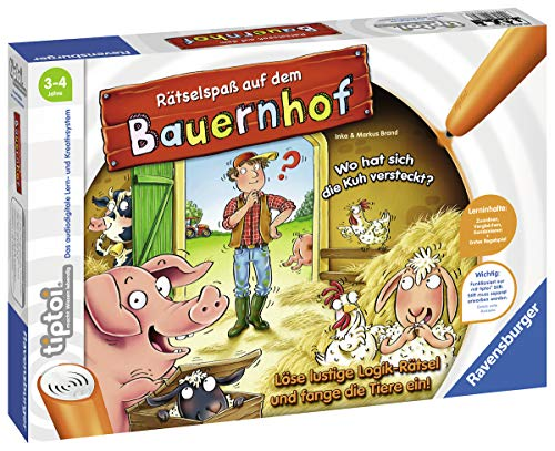 """Ravensburger tiptoi 00830 - """"Rätselspaß auf dem Bauernhof"""" / Spiel von Ravensburger ab 3 Jahren / Löse lustige Logik-Rätsel und fange die Tiere ein!"""
