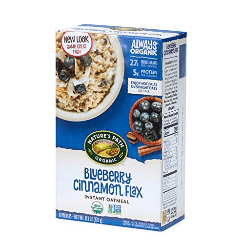 Nature's Path Organic Instant Oatmeal, Blueberry Cinnamon Flax, 48 Packets (Pack of 6, 11.3 Oz Boxes)