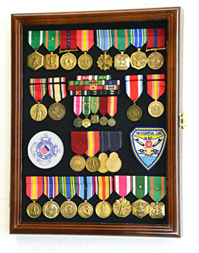 Military Medals, Pins, Badges, Patches, Insignia, Ribbons, Flag Display Case Shadowbox Cabinet Pinnable Background - Lockable, Walnut