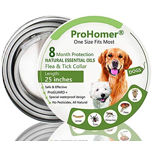 ProHomer Collares Antiparasitario para Perros Impermeable, 8 Meses de Protección de Efectividad Repelente de Plagas de Goma, Fórmula Natural, Ajustable (63cm)