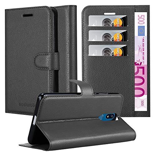 Cadorabo Hülle für LG K40 in Phantom SCHWARZ - Handyhülle mit Magnetverschluss, Standfunktion & Kartenfach - Hülle Cover Schutzhülle Etui Tasche Book Klapp Style