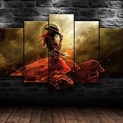 Impresión En Lienzo 5 Piezas Cuadro Sobre Lienzo,5 Piezas Cuadro En Lienzo,5 Piezas Lienzo Decorativo,5 Piezas Lienzo Pintura Mural,Regalo,Decoración Hogareña Lobo Chica Texas Salvaje Oeste Re