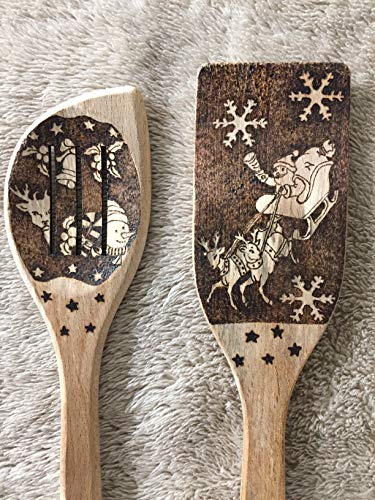 Handmade Santa theme design Christmas wood spoon pair gift item, pyrography (wood burning), sleigh,...