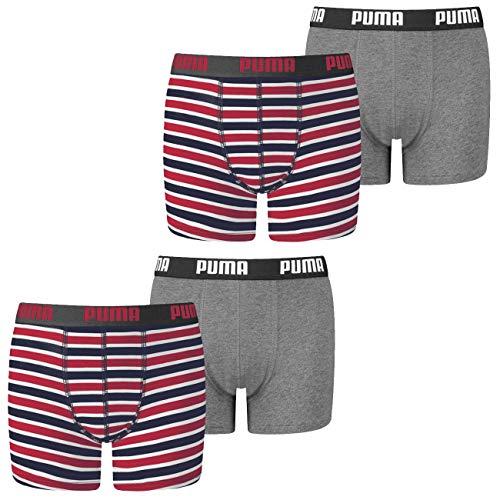 PUMA Jungen Boxershort Basic Boxer Printed Stripe 4er 6er 8er Multipack 128 140 152 164 176 Uni Gestreift 95% Baumwolle ohne Eingriff, Größe:158-164, Packgröße:4 Stück, Farbe:Ribbon Red (001)