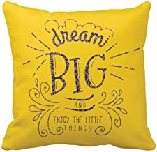 YaYa cafe Canvas Fabric Dream Big and Enjoy The Little Things Motivational Quotes Printed Cushion Cover Home Sofa (Yellow,16 x 16 inches)