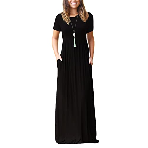 a64a0320c917 DEARCASE Women Short Sleeve Loose Plain Maxi Dresses Casual Long Dresses  with Pockets