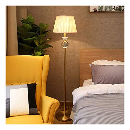 Lámpara de pie de luz diurna & Piso cristalinas del estilo europeo de la lámpara completa Cobre hotel decoración casera creativa de la sala del sofá del dormitorio de noche LED de la lámpara de piso s