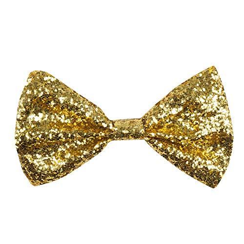 Boland 53110 - Fliege Glitter, gold, glänzend, ca. 13 cm breit, Gummiband, schmale Ausführung, chique, Karneval, Halloween, Fasching, Mottoparty, Verkleidung, Theater