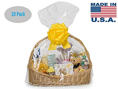 10 Pack BOPP Clear Cello Cellophane Bags Gift Basket Packaging Bags Cello Bags 24 in X 30 in