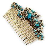 Inspiration Vintage en cristal Swarovski Bleu sarcelle Papillon Côté Peigne à cheveux en style ancien Doré - 105 mm
