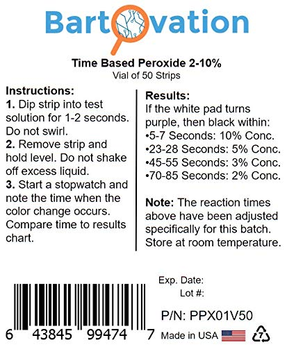 Very High Level Peroxide Test Strips, 2-10%, Time Based Test [Vial of 50 Strips]