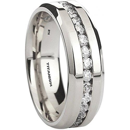 Mens Titanium Ring-8mm Wide Simulated Diamonds Classic Wedding Engagement Band Ring U