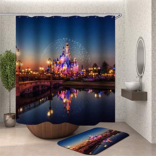 ZZZdz Disneys Nachtansicht. Duschvorhang. Hochauflösender 3D-Druck, Kein Ausbleichen, Leicht Zu Reinigen, 180 X 180 cm. Bodenmatte, 40X60Cm.