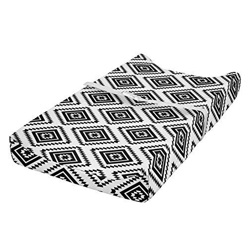 ABAKUHAUS Geométrico Cubierta del cambiador, monocromo Américas, Funda blanda para el cambiador de pañales con agujeros para la hebilla de seguridad, Blanco negro