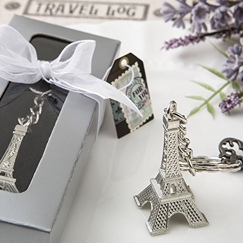 Eiffel Tower Metal Key Chains In A Favor Box, 48