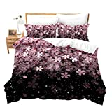 Homewish Cherry Blossom Duvet Cover Set Pink Flower Bedding Set 3pcs for Girls Adults Petal Floral Print Comforter Cover Japanese Style Bedspread Cover with 2 Pillowcases (No Comforter) Queen Size