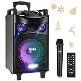 Sistema de Altavoces Karaoke Moukey Bluetooth Sistema de Audio Altavoz PA Inalámbrica Portátil 520W 10 Pulgadas PA Sistema con Micrófono VHF, Luces de DJ, Radio MP3/USB/SD/FM para la fiesta de Navidad
