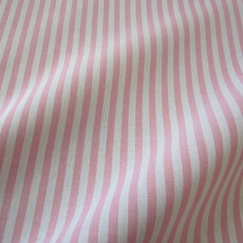 Tissu au mètre bauernstreifen rose/blanc/rayures style voilage rayé