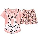 Pijamas de verano de las Mujeres Rosa Bugs Conejo Pijama Conjunto Lindo de dibujos animados de Algodón Ropa para el Hogar de la Niña Ropa