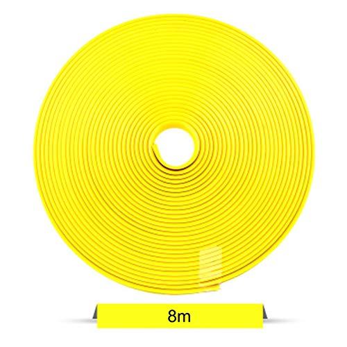 MMYX 8M / Roll Coche Rueda de Rueda Protector decoración de la decoración de Goma Moldeado Rimblades Color Vehículo Color Neumático Línea Línea Estilo (Color : Yellow)
