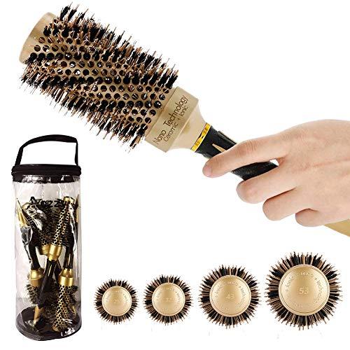 Aozzy Cepillo Pelo Redondo Profesional Antiestático de Barril con Cerdas de Jabalí Nano Térmico Cerámico Lonic Tech para Protege Mejora la Textura Rizar Peinar(4 Cepillos Térmicos)