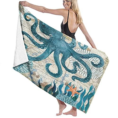 SUDISSKM Toalla de Playa de Playa de Microfibra Grande,Pulpo Azul Vintage Mapa Antiguo Hierba Marina Estrella Mar Monstruo Marino,Toalla de Baño Suave de Secado Rápido 130x80CM