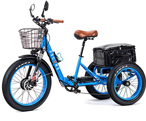 industrial trikes 3SCORE Electric Fat Trike 750W Motor and 48V Lithium Rechargeable Battery - Etrike 24 Inch Fat Tire - Foldable Electric Cruiser Tricycle (Electric Blue, Fat Tire Etrike)