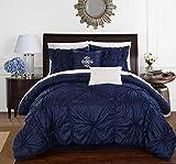 Chic Home CS1444-AN 6 Piece Halpert Floral Pinch Pleat Ruffled Designer Embellished Queen Comforter Set Navy