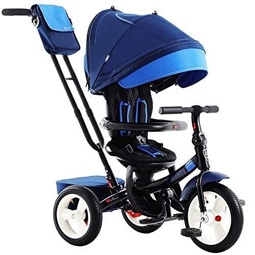 TANKKWEQ Logle el cochecito de los triciclos para niños, cuatro triciclos para bebés, asientos traseros ajustables, toldos extraíbles y putt, cestas grandes y cercas de seguridad para niños me
